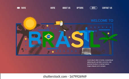 Web banner for Brazil poster, travel southern America vector illustration. Statue of Jesus the Redeemer, tree, text. Contact us, about us, home, option button. Web site design template.