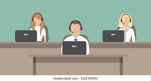 Web banner of call center workers. Young man and women in headphones sitting at the tables on a green background. People icons. Vector illustration.