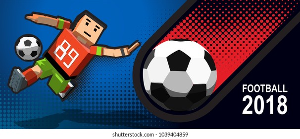 Web banner with cartoon character playing football. Football player in Pixel art stile