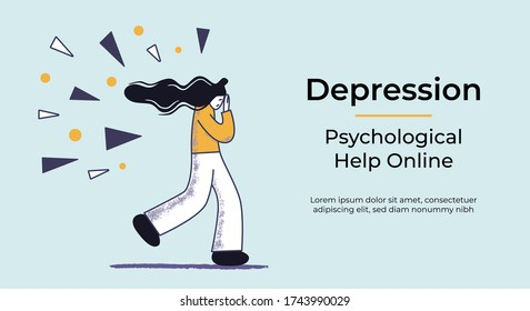 Web banner with a concept of depressed desperate woman running under the attack of sharp problems. Flat vector illustration. Psychological help online template.