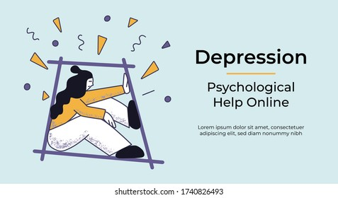 Web banner with a concept of depressed woman in isolated space under the problems rain. Flat vector illustration. Psychological help online template.