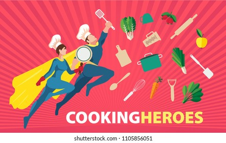 Web banner concept with flat vector superheroes of cooking both man and female with kitchen equipment on bright background, editable and isolated