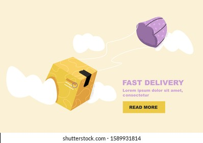 Web banner for Delivery Services and E-Commerce. Package are flies on parachute. Logistics and transportation, relocation concept, transportation of goods, distribution. Isolated vector illustration