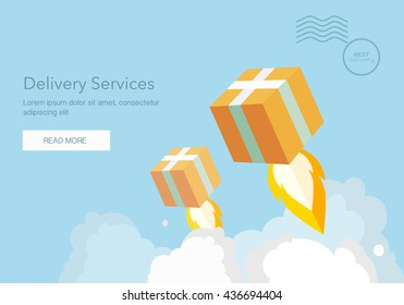 Web banner for Delivery Services and E-Commerce. Flat elements isolated vector illustration