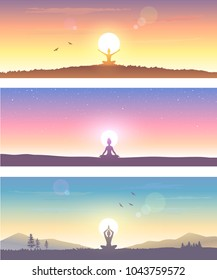 Web banner design background or header Templates. Amazing silhouette woman sit in Lotus pose and welcomes the sun. Practicing yoga. Vector illustration.