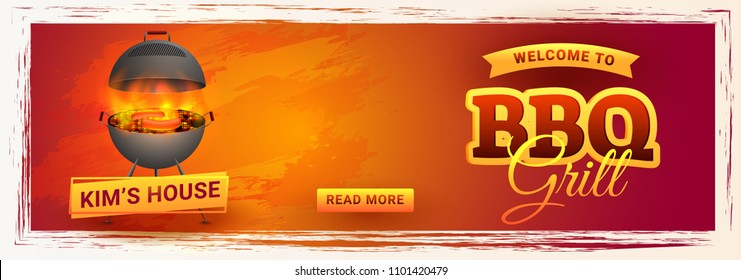 Web banner design with hot barbecue, also can be uses as barbecue poster, food flyer, menu card, or promotional advertisement banner. Editable size.