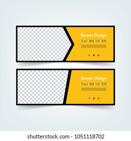 Web Banner Design set. Abstract poster template.  facebook cover. Black and yellow sale poster.