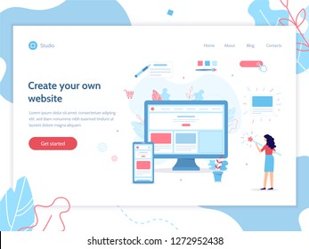Web banner design template. The girl creates her own website. She's holding a magic wand. Website builder concept. Flat vector illustration.