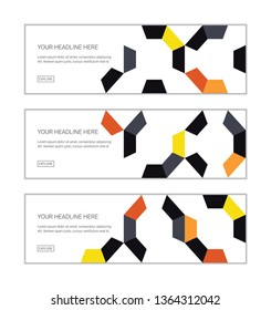 Web banner design template set consisting of abstract background patterns made with colorful pieces of decagon shapes. Playful, modern vector art in orange, red, grey and black colors.
