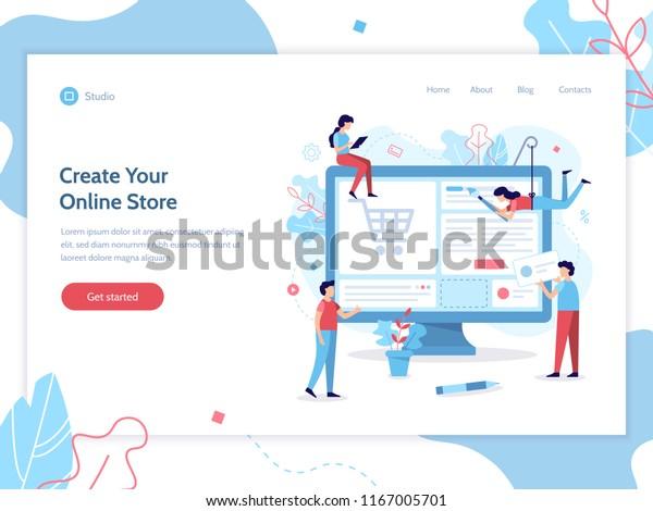 Web Banner Design Template Team Web Stock Vector Royalty Free 1167005701