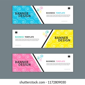 Web banner design template vector illustration, Geometric background, Abstract texture, advertisement layout. advertising header for website. Graphic for billboard, gift voucher, card. colorful style