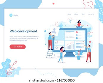 Web banner design template. Website development. The team of web developers constructs a personal user account or admin panel for the web site. Flat vector illustration.