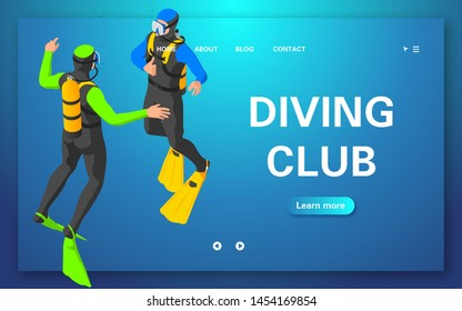 Web banner diving club. The diver signals with a gesture that you need to pop up. Flat vector illustration of an isometric view.