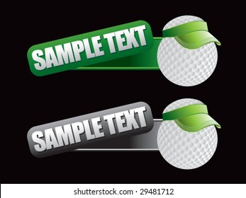 web banner featuring golf balls with visors