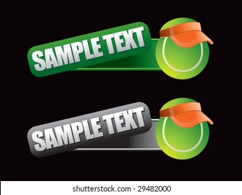 web banner featuring tennis balls with visors