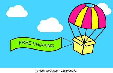 Web banner for Free shipping or E-Commerce. Packages are flying on parachutes. Flat vector illustration.