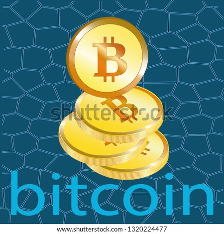 Web Banner Golden Bitcoin Dark Blue Stock Vector (Royalty Free