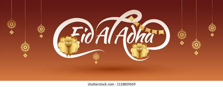 Web banner or header design for Islamic festival of sacrifice,  Eid-Al-Adha celebrations  with origami golden sheeps, hanging arabic floral design on brown background.