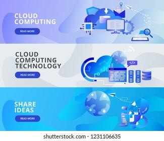 Web Banner Illustration of Cloud Computing, Share Ideas. Modern flat design concept of web page design for website and mobile website.Vector illustration