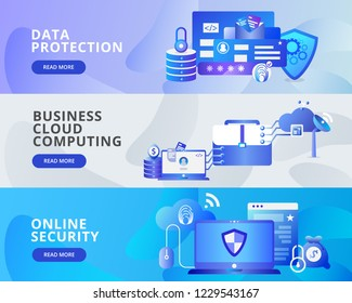 Web Banner Illustration of Data Protection, Business Cloud Computing and Online Security. Modern flat design concept of web page design for website and mobile website.Vector illustration