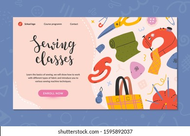 Web banner layout for sewing classes, online course or workshop. Hand drawn illustrations of sewing tools, simple modern style. Pre-made landing for dressmaking, tailoring school, enroll now button