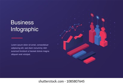 Web banner with neon light and modern 3d isometric infographic for your business presentations. Isometric gradient style. Home page concept. UI design mockup