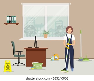 "Web banner of an office cleaning lady. Young woman with a mop standing on the window background. There is also a ""Caution! Wet floor"" sign, a broom, a scoop in the picture. Vector flat illustration."