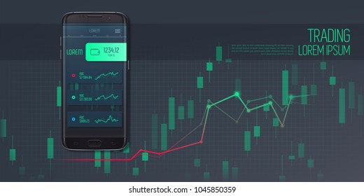 Web banner on mobile stock trading concept, online trading, stock market analysis, business and investment. Smartphone with Stock Market Application