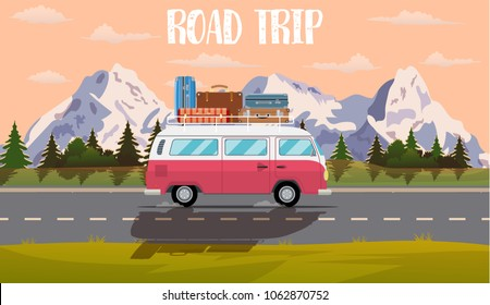 web banner on the theme of Road trip, Adventure, vintage car, outdoor recreation, adventures in nature, vacation. vector illustration in flat design.