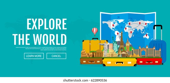 Web banner on the theme of travel. Suitcases with landmarks and folded world map. Vector illustration.