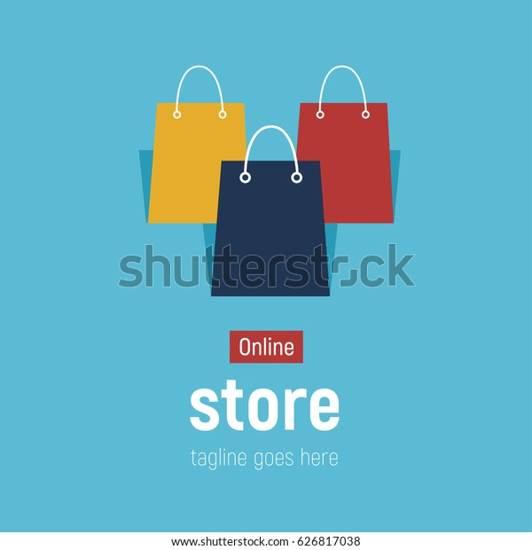 c2972b07 Web banner Online Store with shopping bags. Concept online shopping. Vector  illustration