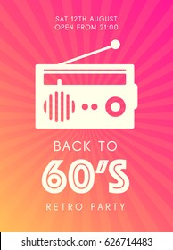 web banner or print poster for retro music party. cool concept for club and party promotion and advertisement. vector illustration, vector background