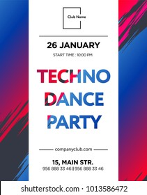 Web banner or print poster for techno rave party. great concept for club and party promotion and advertisement. vector illustration, vector background