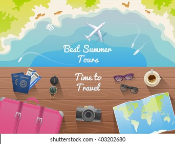 Web banner for site travel agency, flat design, top view. The plane, beach, boat, stuff for travel