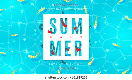 Web banner for summer sale with top view on water texture. Top view on fish in sea. Vector illustration with special offer of discount season.