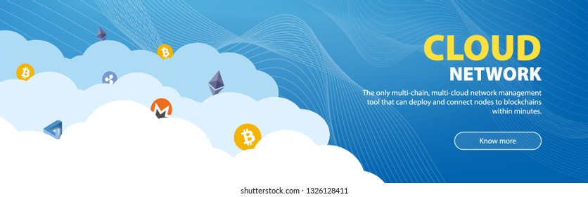 Web banner template.  Cryptocurrency icons on the clouds and line art. Suitable for data security, multi-cloud network, multi-chain, cloud technology, trading platform, transfers, blockchain.