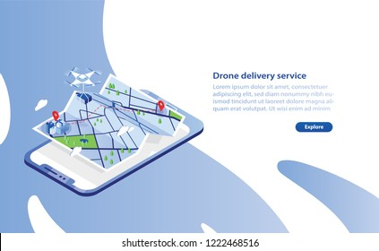 Web banner template with drone carrying box and flying above city map and giant smartphone. Delivery service with automated quadrotor, modern electronic device. Isometric vector illustration.