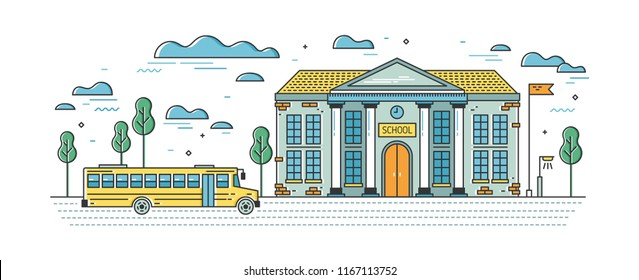 Web banner template with elegant school building and bus for pupils on road. Educational institution, system of formal education. Colorful vector illustration in lineart style.