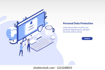 Web banner template with giant computer, pair of tiny people carrying padlock and place for text. Personal data protection, secure digital information access. Colorful isometric vector illustration.