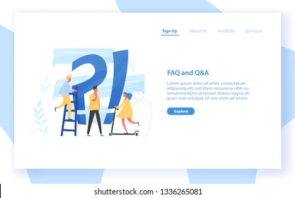 Web banner template with giant question mark and interrogation point and tiny people. FAQ, customer guide, user manual, useful information for problem solving. Flat colorful vector illustration.