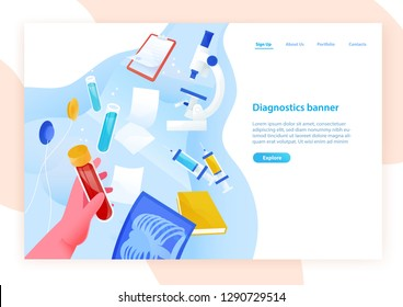 Web banner template with hand holding test tube with blood, medical laboratory tools and place for text. Colored vector illustration in flat style for clinical diagnostics center or lab advertisement.