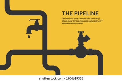 Web banner template. Industrial background with yellow pipeline. Vector illustration in a flat style.