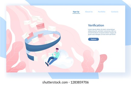 Web banner template with man sitting on cloud and reading incoming letters. Email filtering, anti-spam software, inbox message verification. Vector illustration for internet service advertisement.