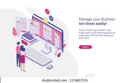 Web banner template with man and woman standing in front of computer display and looking through CVs of job candidates. Concept of HR, personnel hiring and recruitment. Isometric vector illustration.