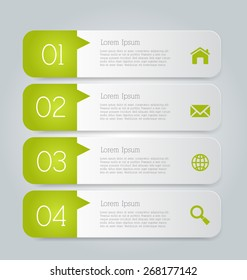 Web banner template with number options for infographic, design, business, education, presentation, website, brochure, flyer. Editable vector tags in green color.