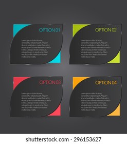 Web banner template with number options for infographic, design, business, education, presentation, website, brochure, flyer. Black color tags.
