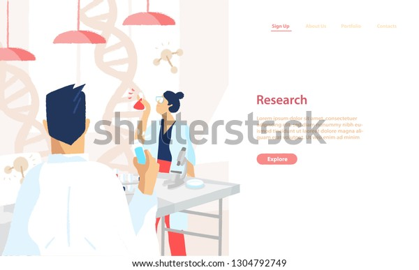 Web banner template with pair of scientists wearing white coats conducting experiments and scientific research in science laboratory. Vector illustration for medical lab service advertisement.