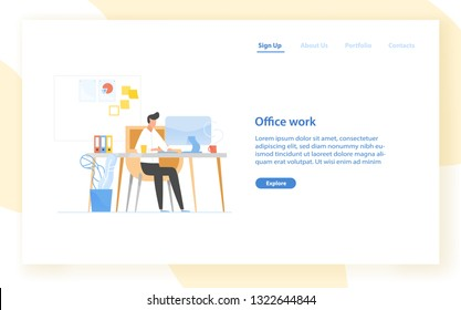 Web banner template with programmer or coder sitting at desk and working. Office work in software development, programming or program coding. Modern flat vector illustration for advertisement.