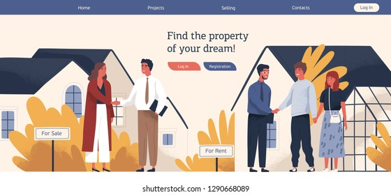 Web banner template with real estate agent or broker shaking hands with people buying or renting house. Colorful vector illustration in flat cartoon style for advertisement of property selling.