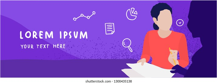 Web banner template with woman. Concept of HR, personnel hiring and recruitment.